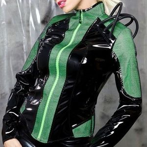 Cyberpunk - Neon Gothic - Cyborg - Alien - VINYL Costume jacket with PVC tubes